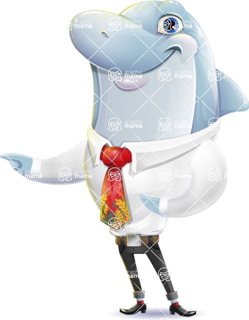 Smart Business Dolphin Cartoon Character - Pointing with both hands