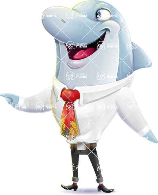 Smart Business Dolphin Cartoon Character - Pointing with left hand