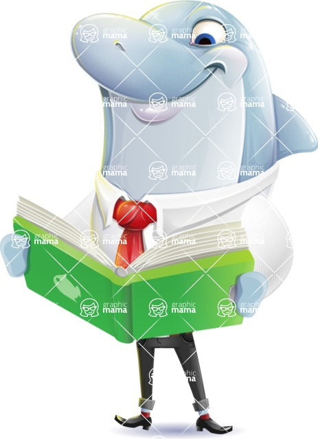 Smart Business Dolphin Cartoon Character - Reading a book
