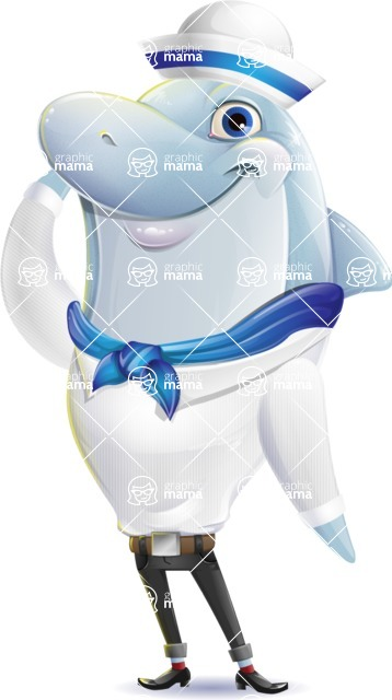 Smart Business Dolphin Cartoon Character - Saluting in a sailor outfit