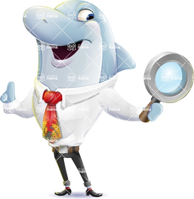 Smart Business Dolphin Cartoon Character - Searching with magnifying glass