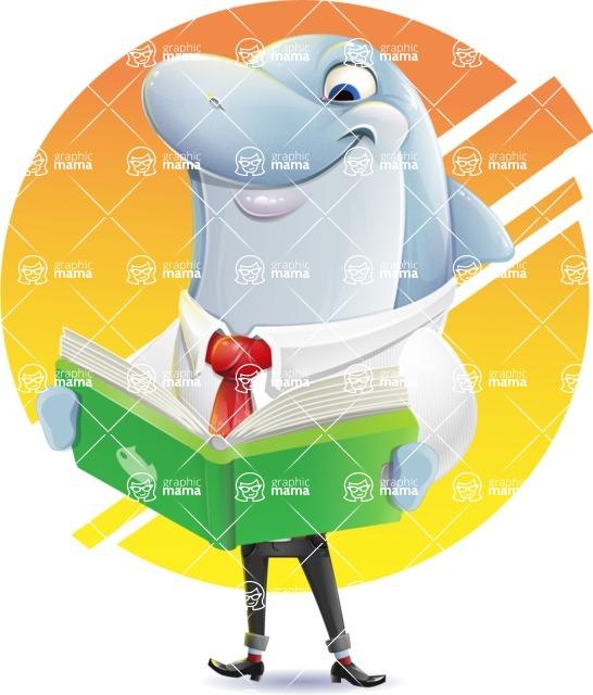 Smart Business Dolphin Cartoon Character - Shape 10