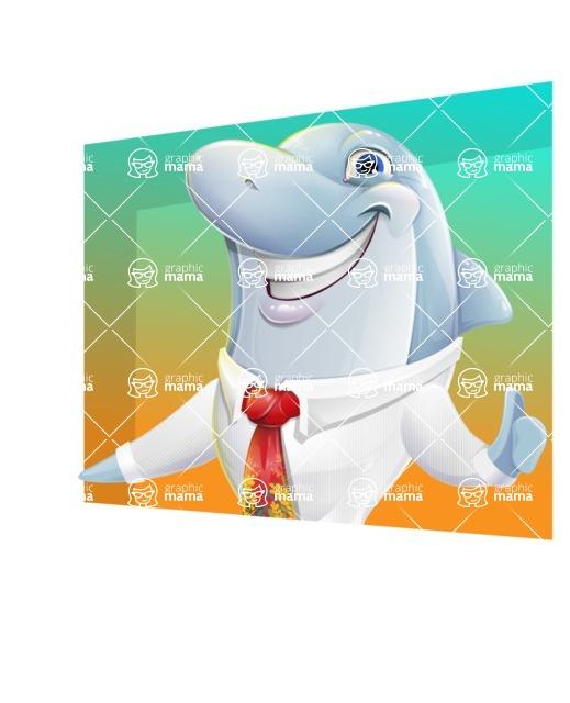 Smart Business Dolphin Cartoon Character - Shape 3