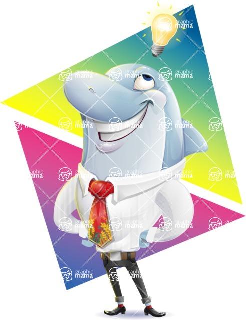 Smart Business Dolphin Cartoon Character - Shape 9