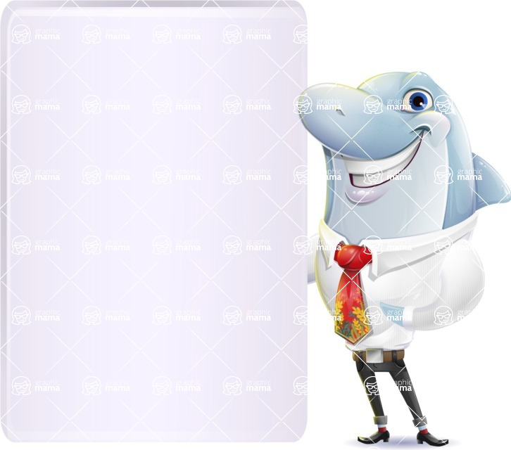 Smart Business Dolphin Cartoon Character - Showing Big Blank banner
