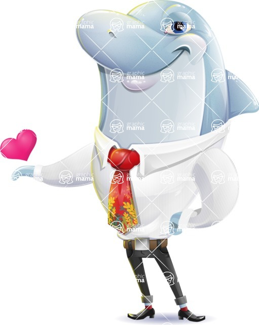 Smart Business Dolphin Cartoon Character - Showing Love