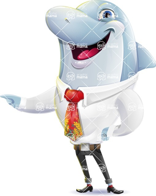 Smart Business Dolphin Cartoon Character - Showing with left hand