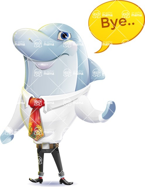 Smart Business Dolphin Cartoon Character - Waving for Goodbye with a hand