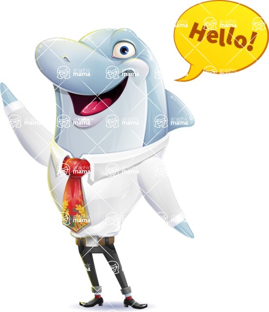 Smart Business Dolphin Cartoon Character - Waving for Hello with a hand