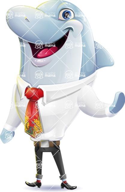 Smart Business Dolphin Cartoon Character - Waving