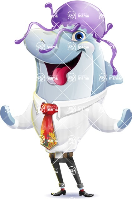 Smart Business Dolphin Cartoon Character - Wearing a jellyfish hat