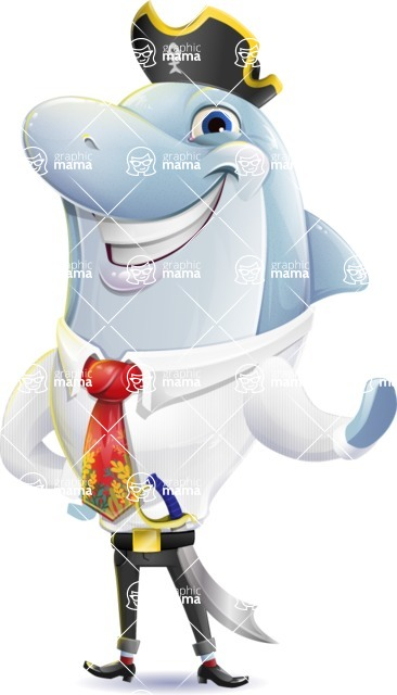Smart Business Dolphin Cartoon Character - Wearing pirate costume