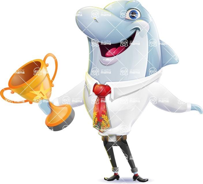 Smart Business Dolphin Cartoon Character - Winning prize