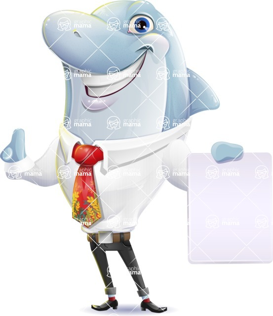 Smart Business Dolphin Cartoon Character - with a Blank paper
