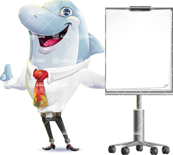 Smart Business Dolphin Cartoon Character - with a Blank Presentation board