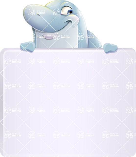 Smart Business Dolphin Cartoon Character - with a Blank Presentation sign