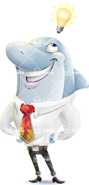 Smart Business Dolphin Cartoon Character - with a Light bulb