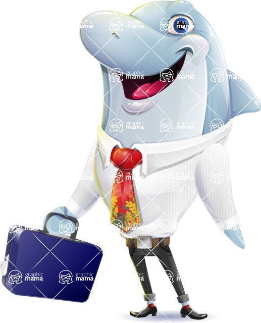 Smart Business Dolphin Cartoon Character - with Briefcase