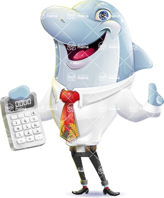 Smart Business Dolphin Cartoon Character - with Calculator