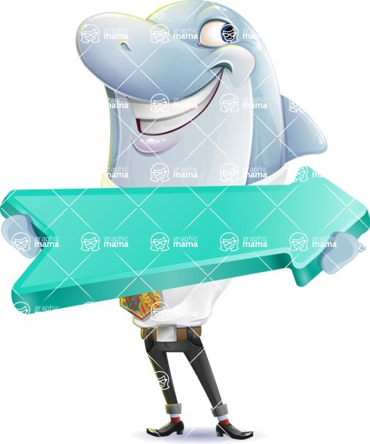 Smart Business Dolphin Cartoon Character - with Positive arrow