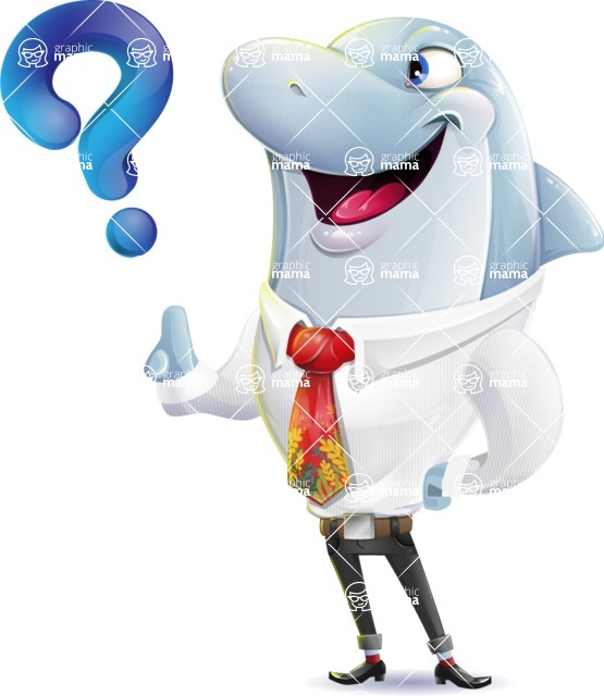 Smart Business Dolphin Cartoon Character - with Question mark