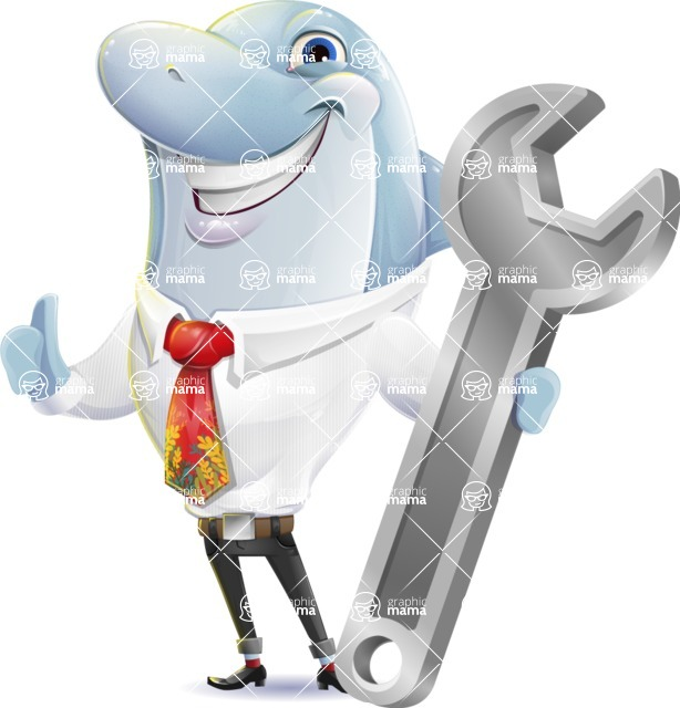 Smart Business Dolphin Cartoon Character - with Repairing tool wrench