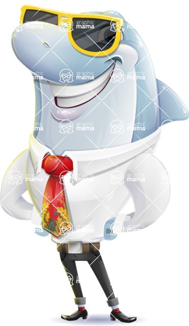 Smart Business Dolphin Cartoon Character - with Sunglasses