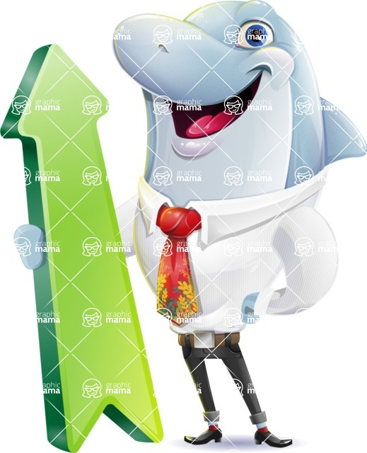 Smart Business Dolphin Cartoon Character - with Up arrow