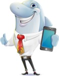 Smart Business Dolphin Cartoon Character - Holding a smartphone