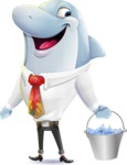 Smart Business Dolphin Cartoon Character - Holding bucket with fish