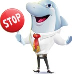 Smart Business Dolphin Cartoon Character - Making stop gesture with both hands