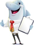 Smart Business Dolphin Cartoon Character - Making thumbs up with notepad