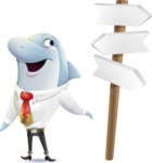 Smart Business Dolphin Cartoon Character - on a Crossroad with sign pointing in all directions