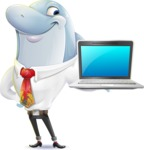 Smart Business Dolphin Cartoon Character - Presenting on a laptop