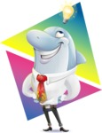 Smart Business Dolphin Cartoon Character - Shape 9