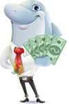 Smart Business Dolphin Cartoon Character - Show me the Money