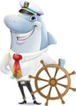 Smart Business Dolphin Cartoon Character - Wearing captain hat with ship wheel