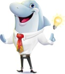 Smart Business Dolphin Cartoon Character - with an Idea