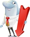 Smart Business Dolphin Cartoon Character - with Arrow going Down