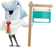 Smart Business Dolphin Cartoon Character - with Blank Real estate sign