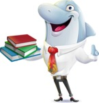 Smart Business Dolphin Cartoon Character - with Books