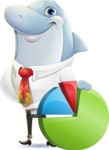 Smart Business Dolphin Cartoon Character - with Business graph