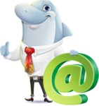 Smart Business Dolphin Cartoon Character - with Email sign