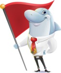 Smart Business Dolphin Cartoon Character - with Flag