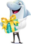 Smart Business Dolphin Cartoon Character - with Gift box