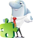 Smart Business Dolphin Cartoon Character - with Puzzle