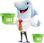 Smart Business Dolphin Cartoon Character - with Sale boxes