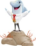 Smart Business Dolphin Cartoon Character - with Success on Top