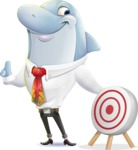 Smart Business Dolphin Cartoon Character - with Target