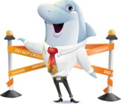 Smart Business Dolphin Cartoon Character - with Under Construction sign